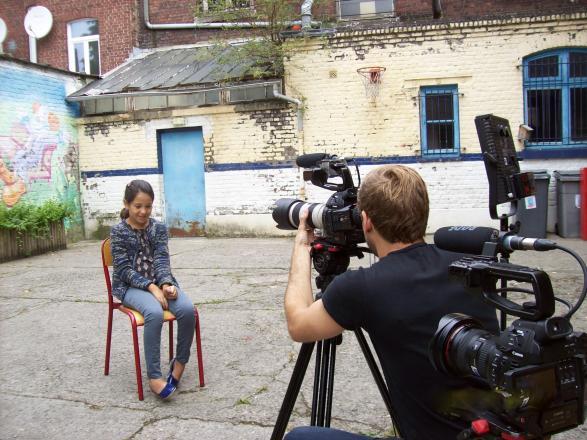 Pendant le tournage  d'un portrait